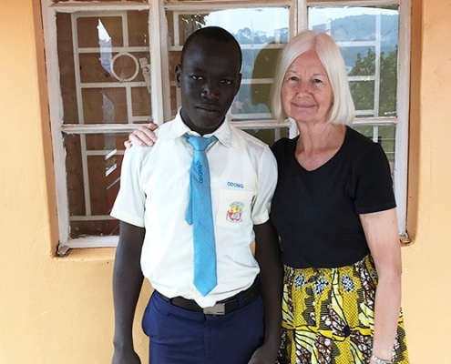 Jane with one of the street children