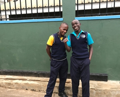 Two of our street boys preparing for training