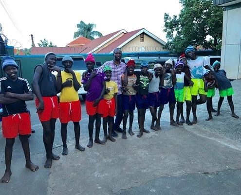 Street children with new clothes