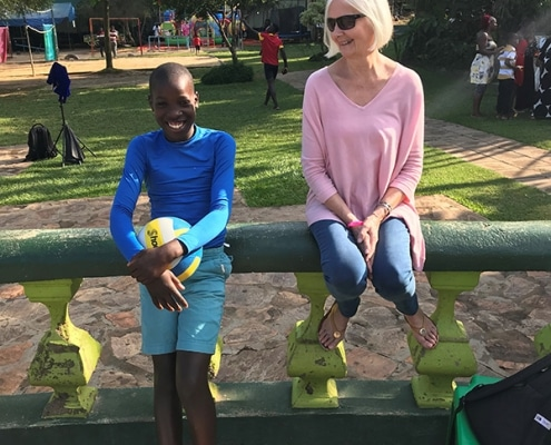 Jane with one of the street boys