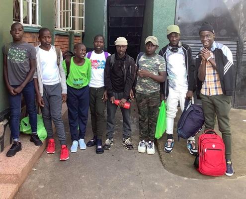 Ugandan street children getting ready for Christmas