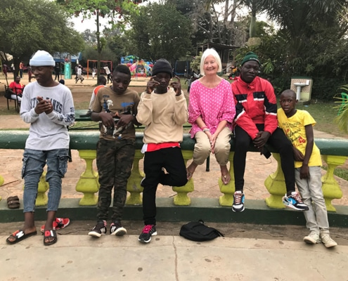 Jane with some of her street children