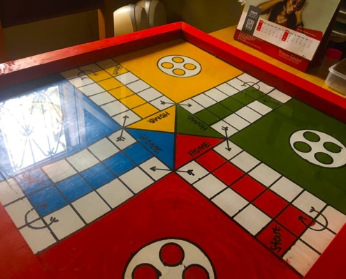 Our charity's new ludo board