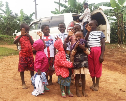 Donated clothes given to children
