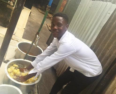 Preparing the potatoes for dinner